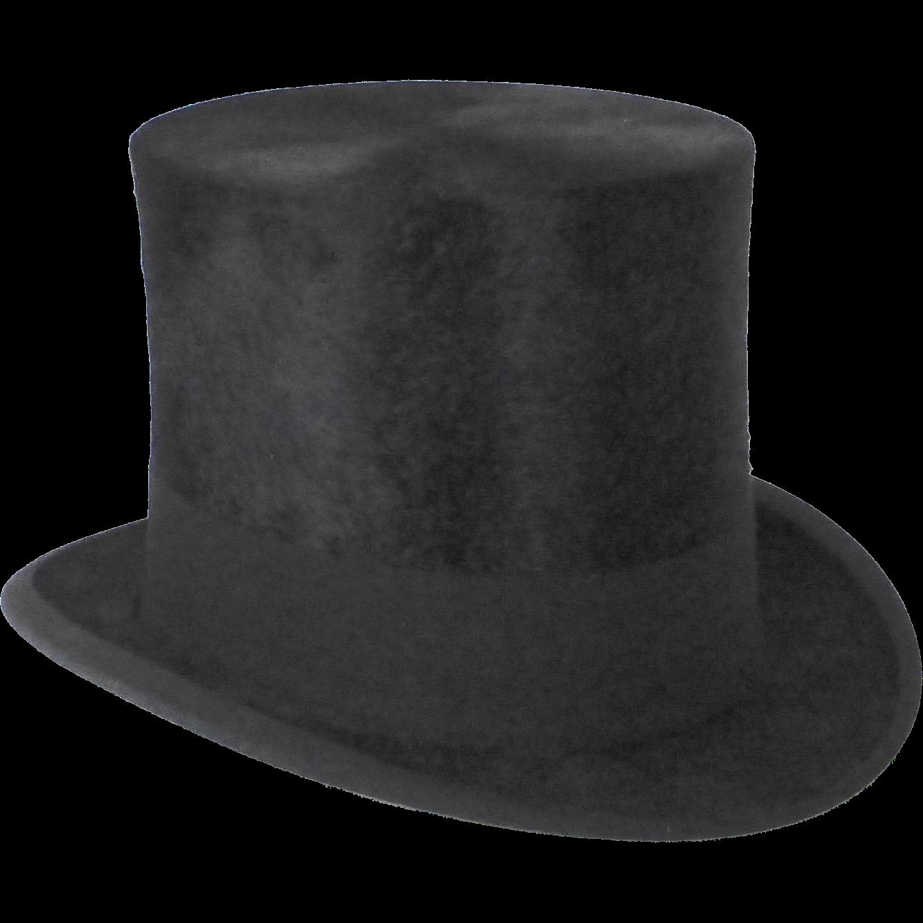 Antique Edwardian Black Beaver Top Hat & Box