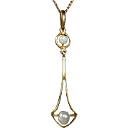 Art Deco 10k Freshwater Pearl Lavaliere 14k Chain