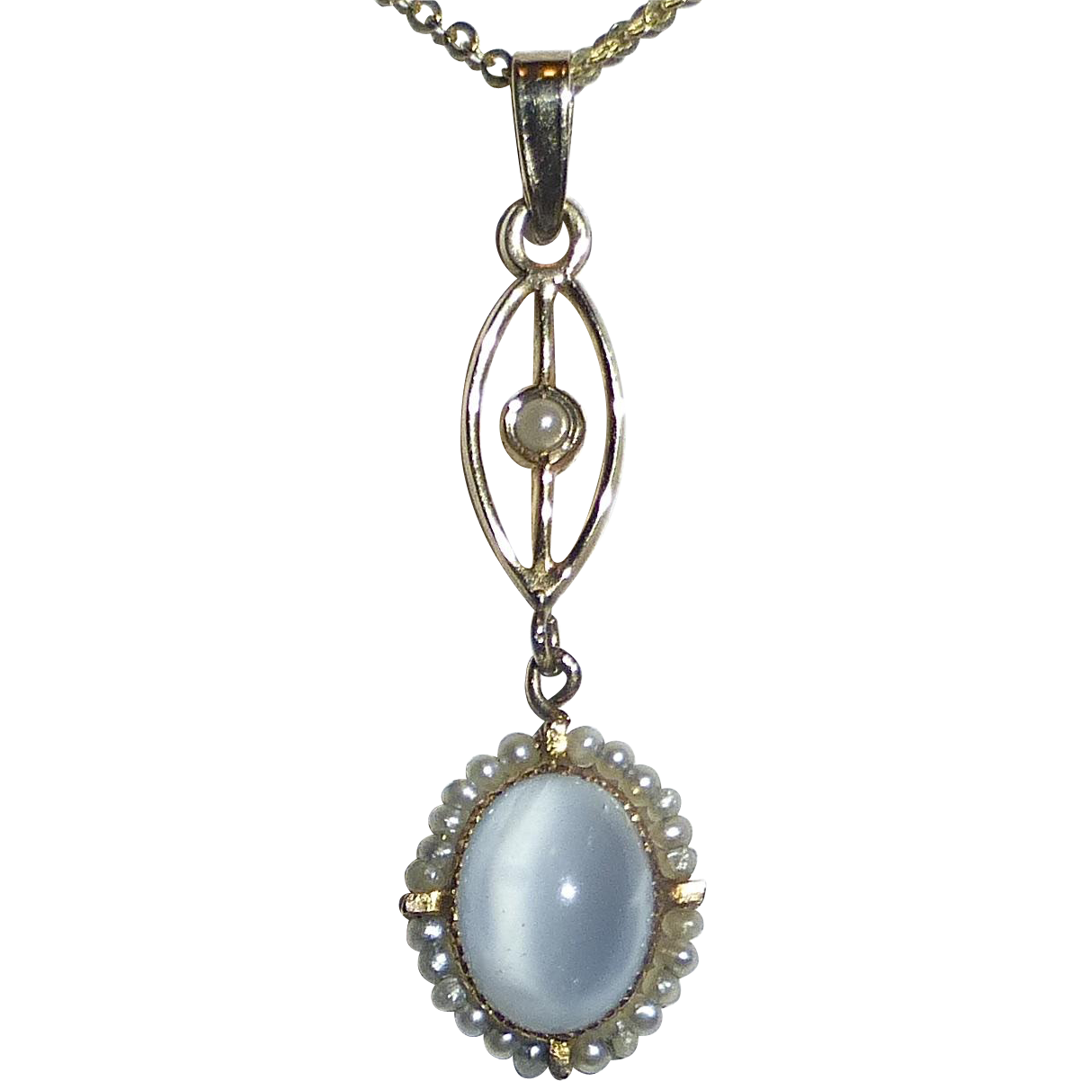 Art Deco 10k Lavaliere Seed Pearls & Synthetic Moonstone