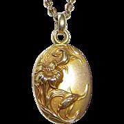 Victorian 10k Art Nouveau Repousse Lily Locket & Chain