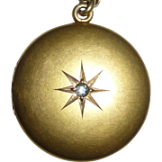 10k Yellow Gold Victorian Locket Engraved Star & Diamond