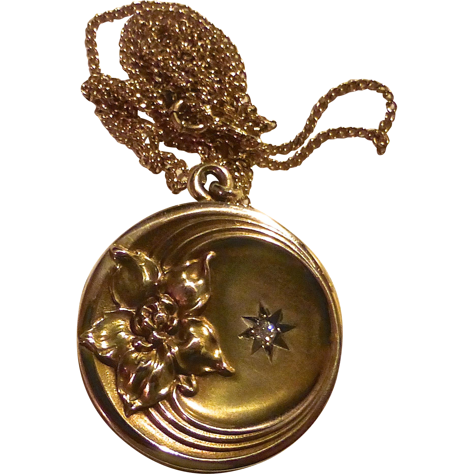 Antique 10k Repousse Floral & Diamond Locket w Chain