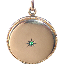 Victorian Rose Gold Filled Locket w Beaded Edge & Faceted Green Jewel