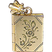 Engraved Book Locket Gold Filled Pendant/Charm