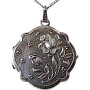 Sterling Locket Embossed Roses Motif