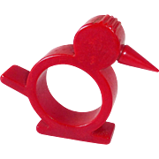 Cherry Red Bakelite Chick Napkin Ring