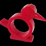 Cherry Red Bakelite Chick Napkin Ring