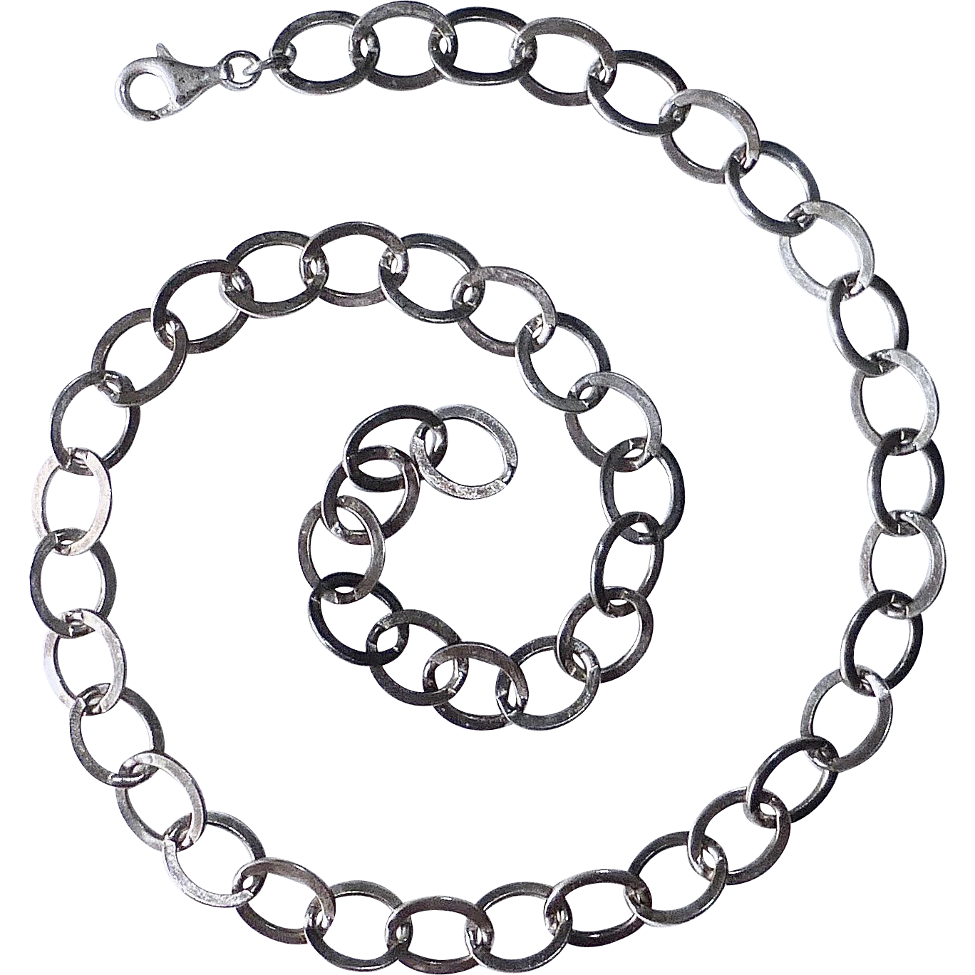 Sterling Flattened Oval Large Link Necklace
