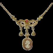 Edwardian 10k Cameo Necklace w Filigree~Drops~Ruby