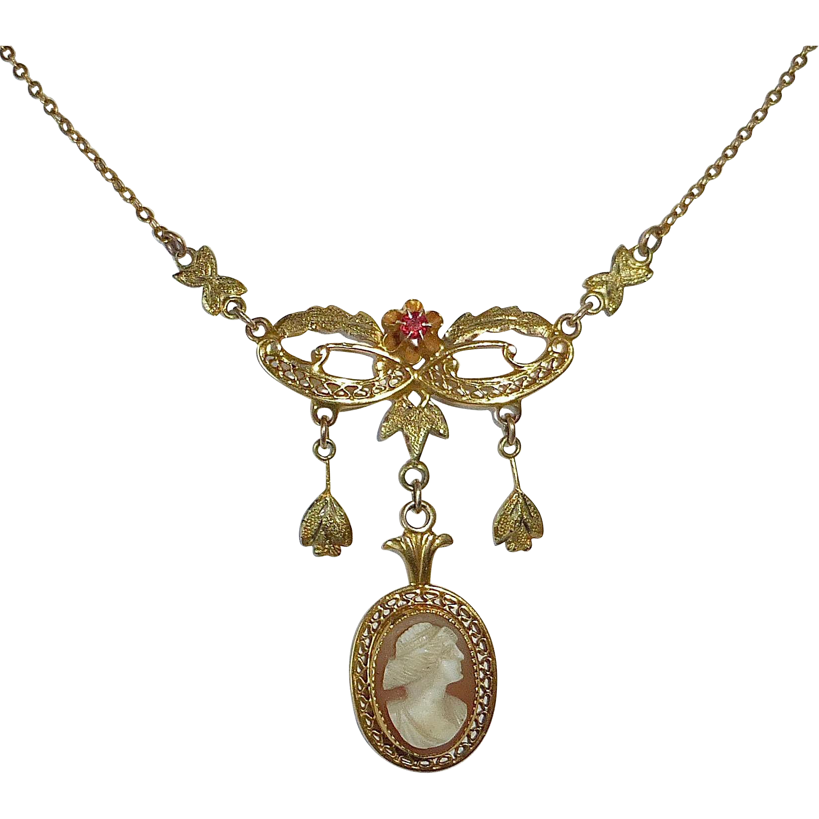Edwardian 10k Cameo Necklace w Filigree~Drops~Ruby