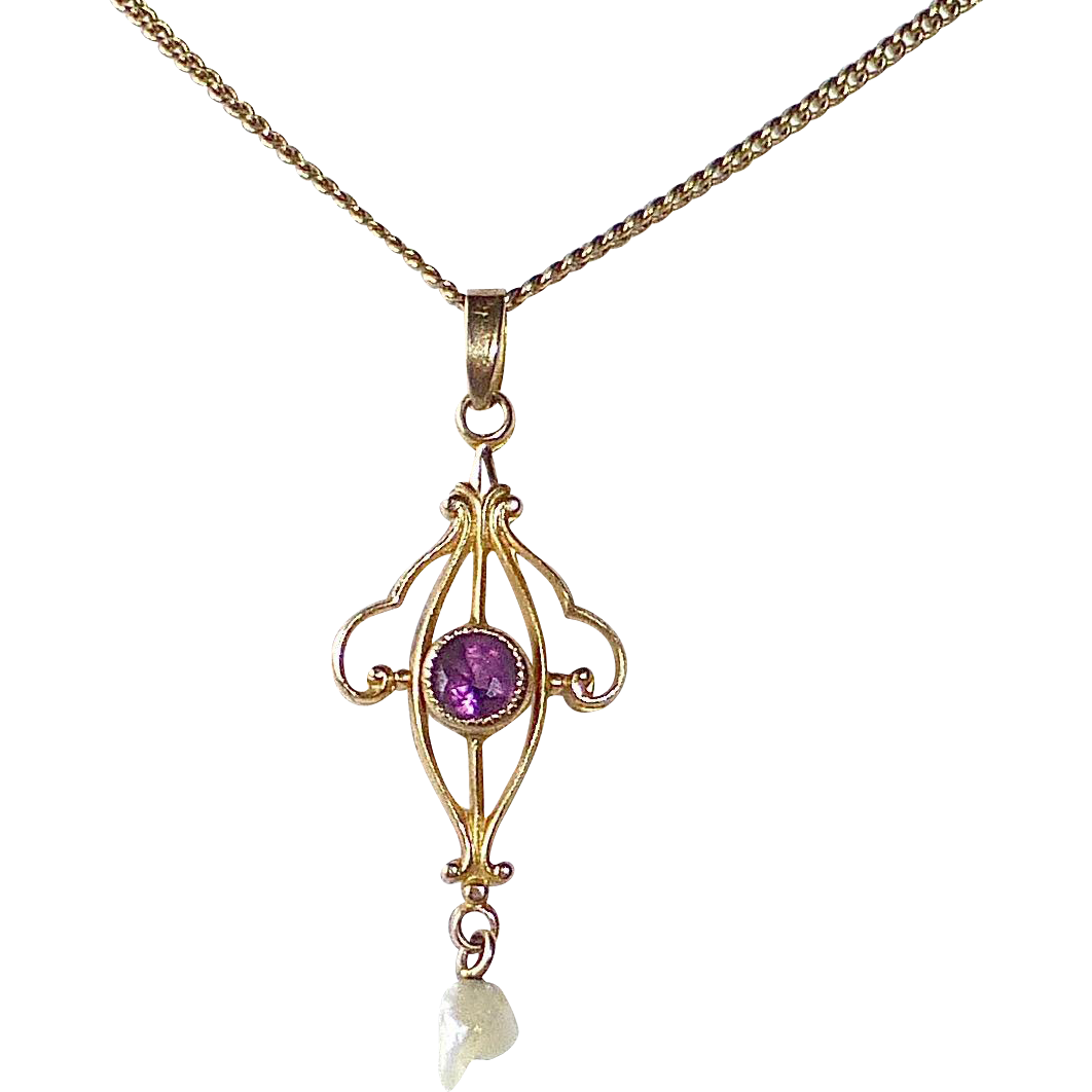 Art Deco 10k Lavaliere Necklace Amethyst & Fresh Water Pearl Drop