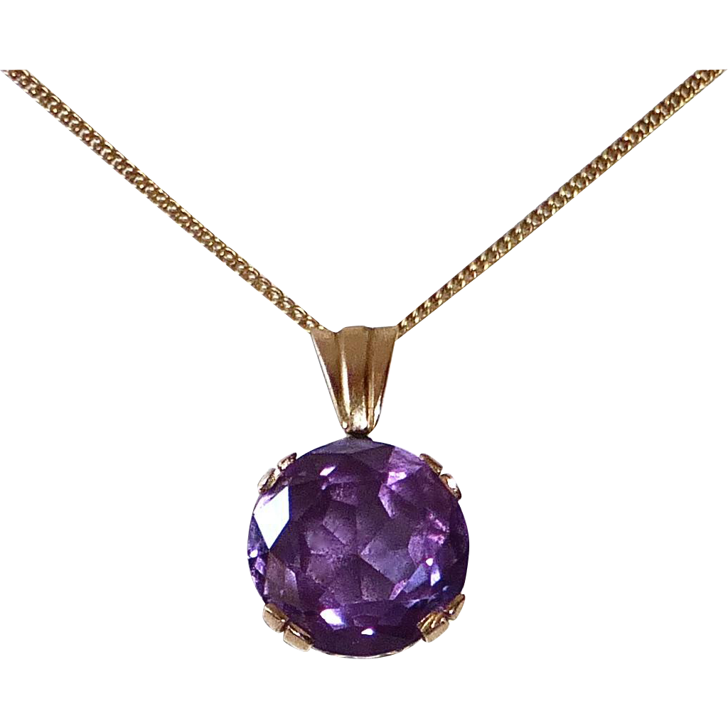 Art Deco 10k Rose Gold Synthetic Alexandrite Necklace