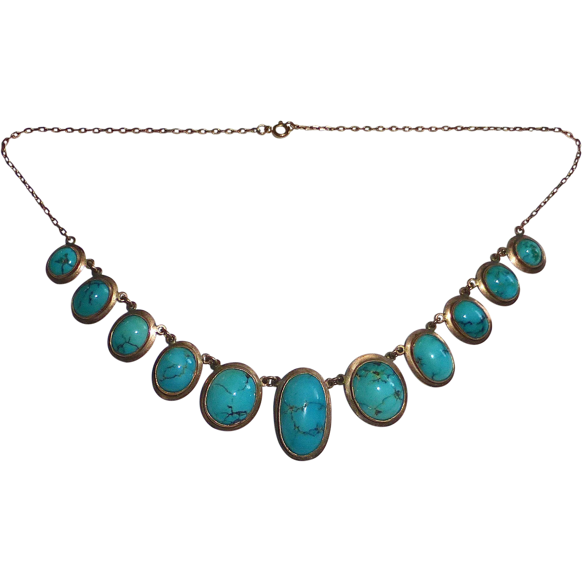 Antique Edwardian 10k Necklace w 11 Turquoise Cabochons