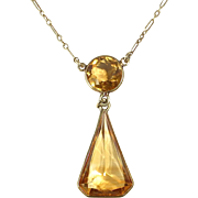 14k Art Deco Citrine Drop Necklace