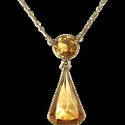 14k Art Deco Citrine Drop Necklace