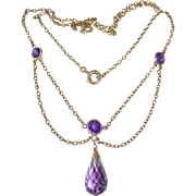 14k Victorian Antique Amethyst Festoon Necklace