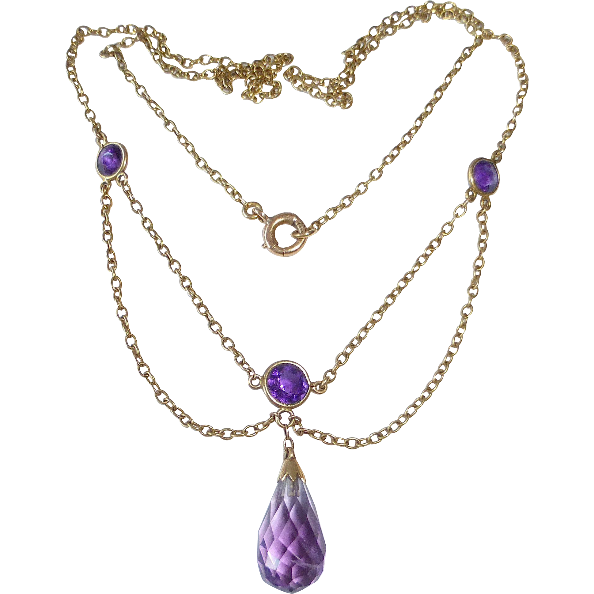 14k Victorian Antique Amethyst Festoon Necklace