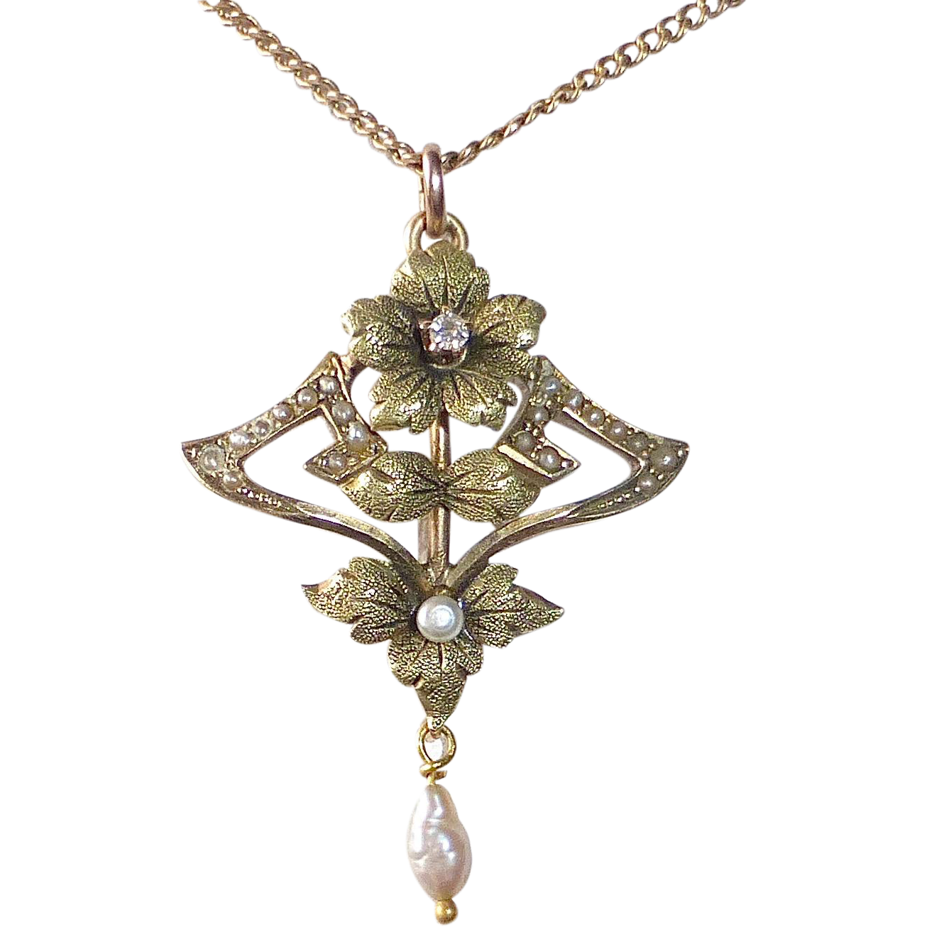 14k Rose & Green Gold Edwardian Lavaliere Pendant Diamond & Seed Pearls