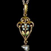 14k Enameled Flower Lavaliere Necklace w Fresh Water Pearls