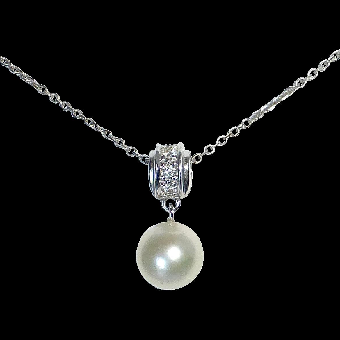 14k White Gold Pearl & Diamond Drop Pendant Necklace