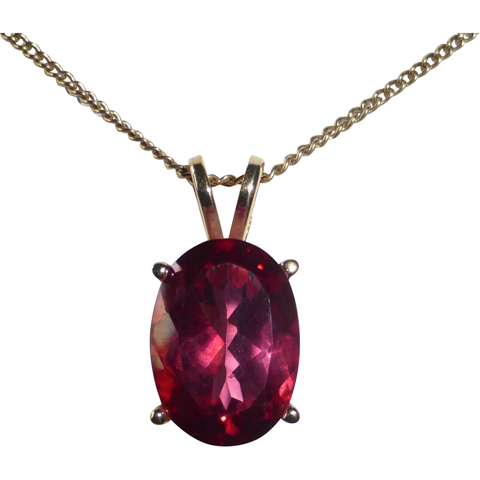 14k Large Oval Rubellite Tourmaline Solitaire Necklace