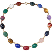 14k Stone Scarab Egyptian Revival Necklace