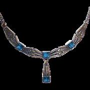 Art Deco 14k White Gold Blue Jewel R. F. Simmons Necklace