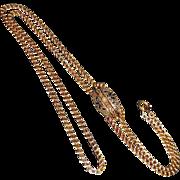 Antique 15k Victorian Slide Chain Oversize Tracery Enamel & Seed Pearl Slide