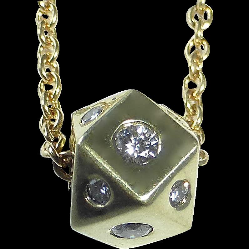 18k Gold Necklace w Diamond Studded Cube
