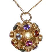 18k Sputnik Gemstone Pendant Necklace c1950s