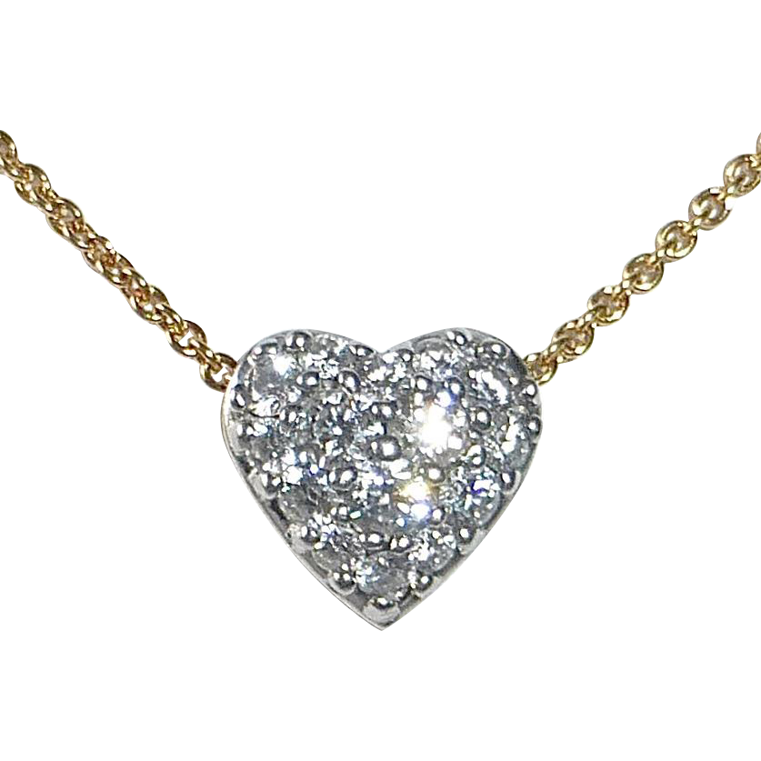 18k & Platinum Diamond Heart Necklace