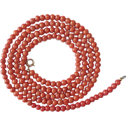 Natural Salmon Coral Long Bead Necklace