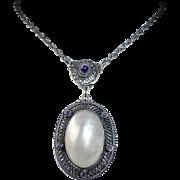 Arts & Crafts 800 Silver Jugendstil Signed Mother Of Pearl & Amethyst Necklace