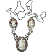 Italian 800 Silver Triple Cameo Necklace