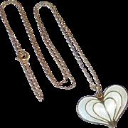 David Andersen Norway Sterling & Enamel Heart Pendant Necklace