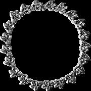 Mexican Signed Sterling Leaf Pattern Link Necklace