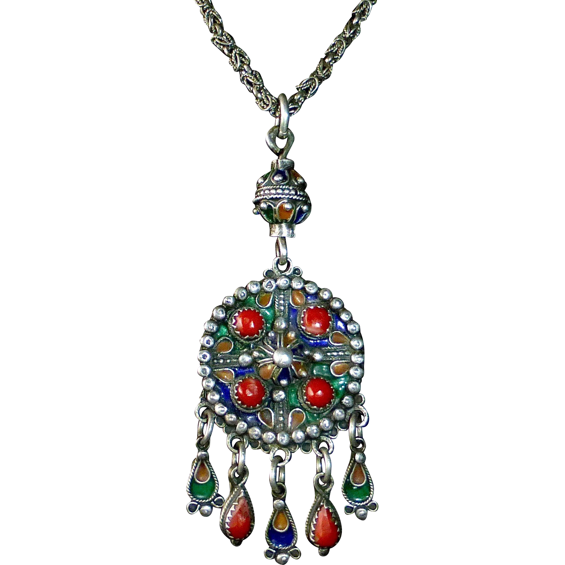 Moroccan Ethnic Sterling Exotic Pendant Necklace w Enamel & Coral