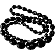 Antique Victorian Whitby Jet Faceted Bead Mourning Necklace
