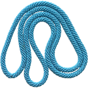 Flapper Woven Turquoise Blue Glass Seed Bead Rope Necklace