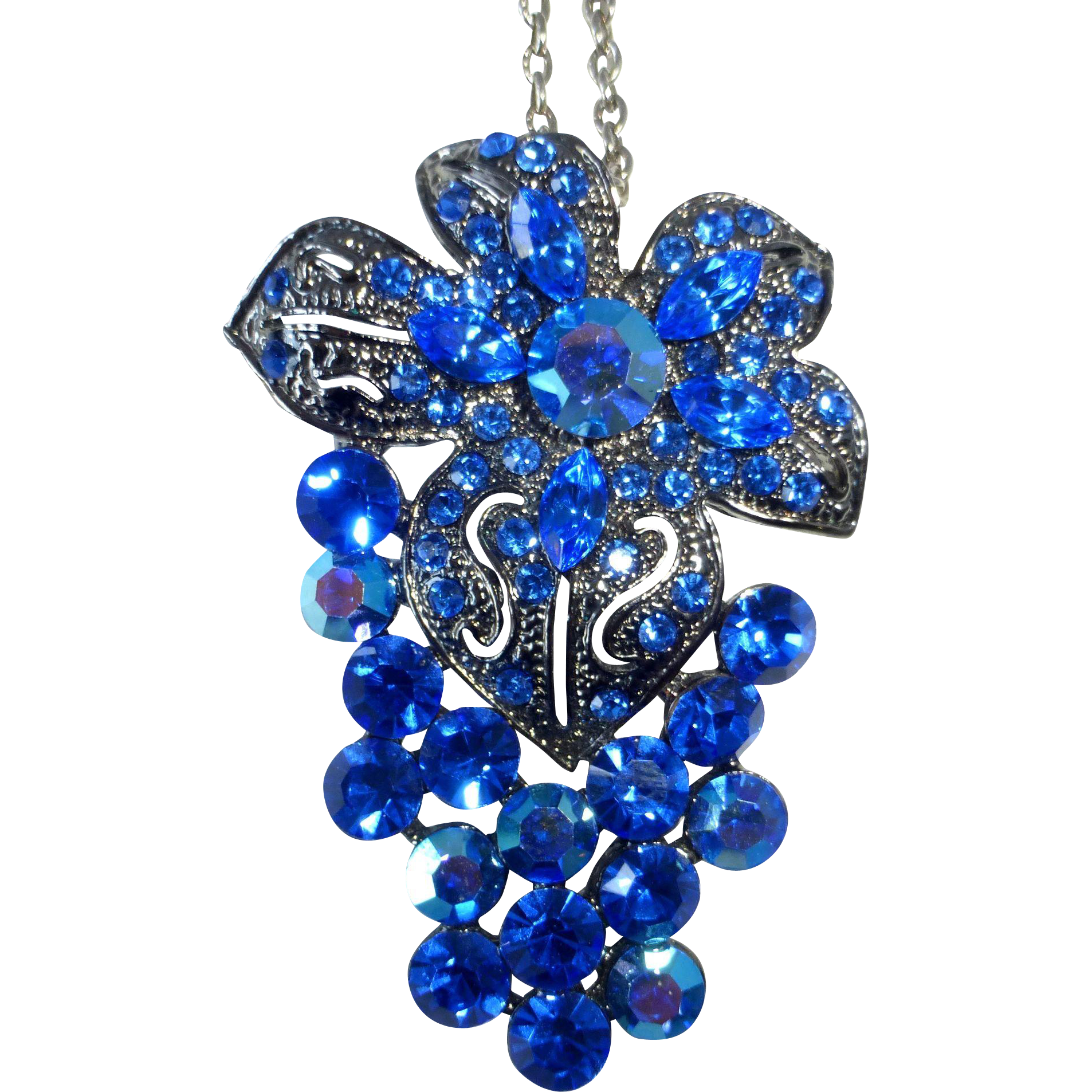 Sparkling Large Blue Rhinestone Grapes Pendant on Chain