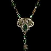 Antique Brass Long Necklace w Peridot Glass Jewels & Beads