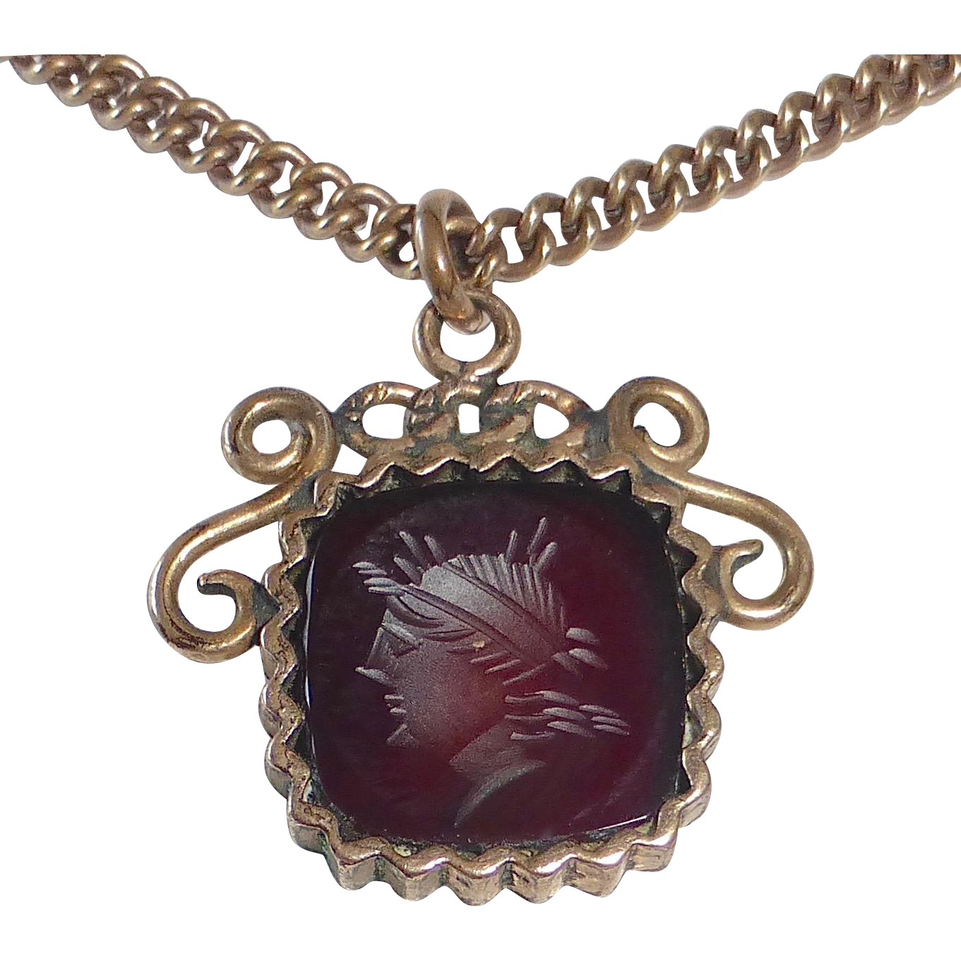 Gold Filled Carnelian Intaglio Fob Necklace