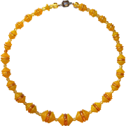 Czech Art Deco Stepped Glass Bead Necklace