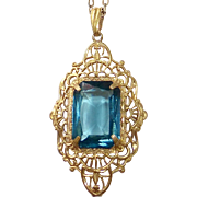Art Deco Gold Filled Filigree Tourmaline Glass Jewel Necklace