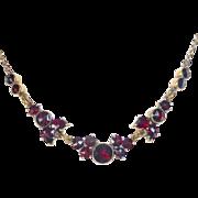 Victorian Revival Gold Filled Rose Cut Garnet Necklace