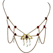 Victorian Gold Filled Festoon Necklace Red Paste Jewels & River Pearls