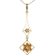 Art Deco 14k Mine Cut Diamond Lavaliere Necklace