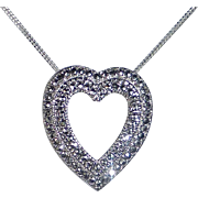 Sterling & Marcasite Heart Pendant Necklace