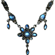 Sterling & Moonstone Rosette Necklace w Drops