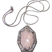 Sterling & Rose Quartz Pendant Necklace